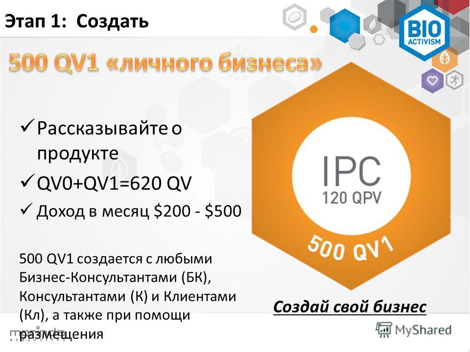 Создай свой бизнес Этап 1: Создать Рассказывайте о продукте QV0+QV1=620 QV Доход в месяц $200 - $500 500 QV1 создается с любыми Бизнес-Консультантами (БК), Консультантами (К) и Клиентами (Кл), а также при помощи размещения