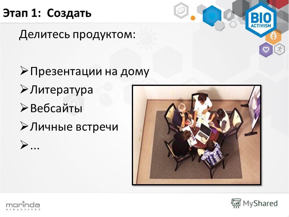 Этап 1: Создать Делитесь продуктом: Презентации на дому Литература Вебсайты Личные встречи...
