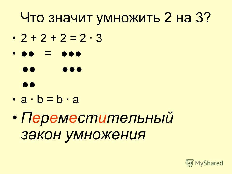 Что значит умножить 2 на 3? 2 + 2 + 2 = 2 · 3 = а · b = b · a Переместительный закон умножения