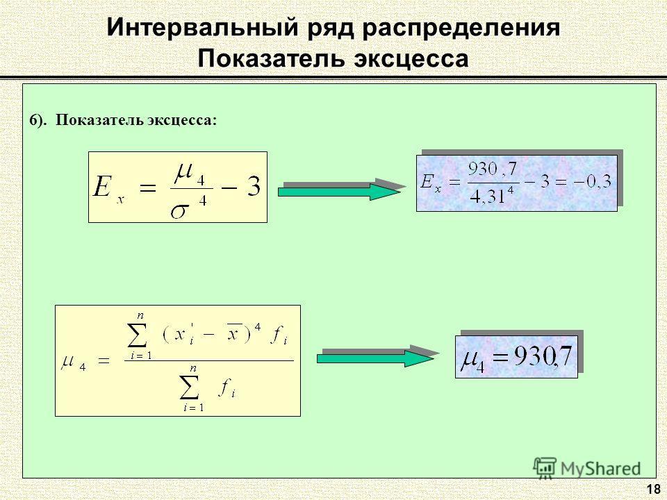 Интервальный ряд распределения Показатель эксцесса 18 6). Показатель эксцесса:
