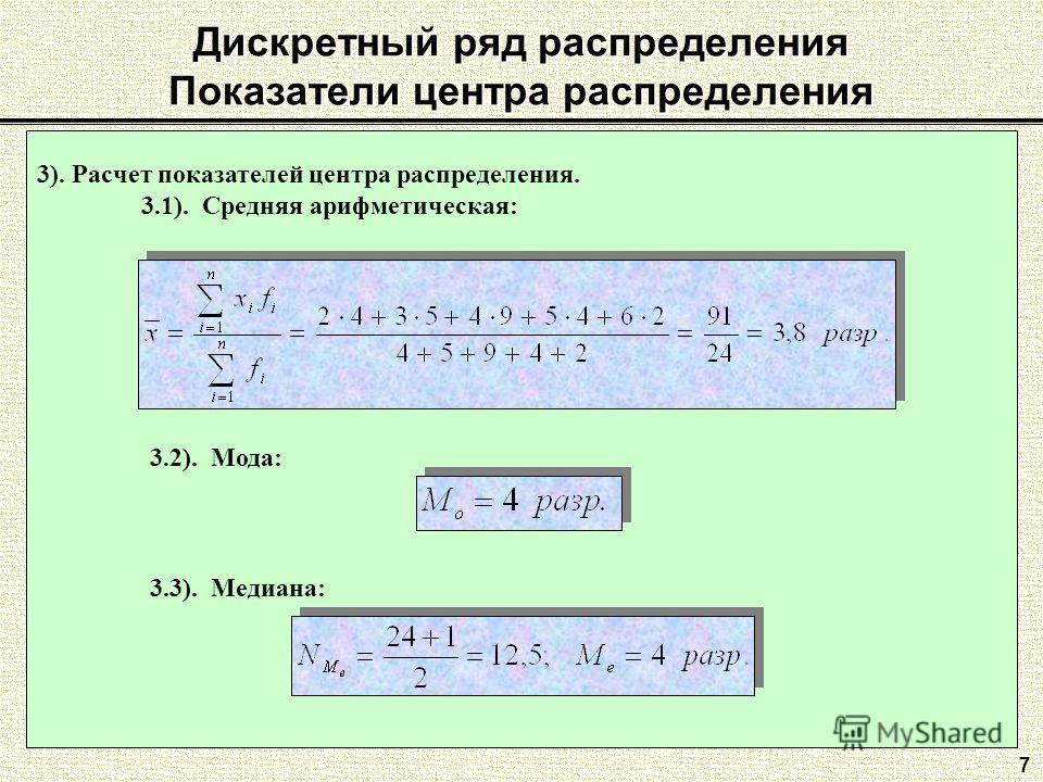 Дискретный ряд распределения Показатели центра распределения 7 3). Расчет показателей центра распределения. 3.1). Средняя арифметическая: 3.2). Мода: 3.3). Медиана: