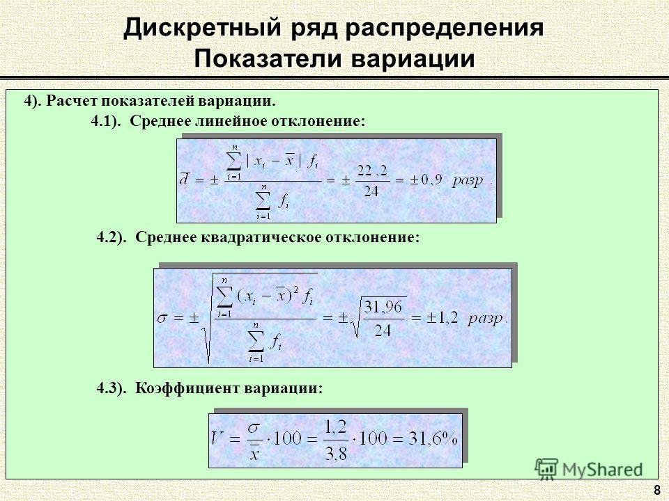 Дискретный ряд распределения Показатели вариации 8 4.3). Коэффициент вариации: 4). Расчет показателей вариации. 4.1). Среднее линейное отклонение: 4.2). Среднее квадратическое отклонение: