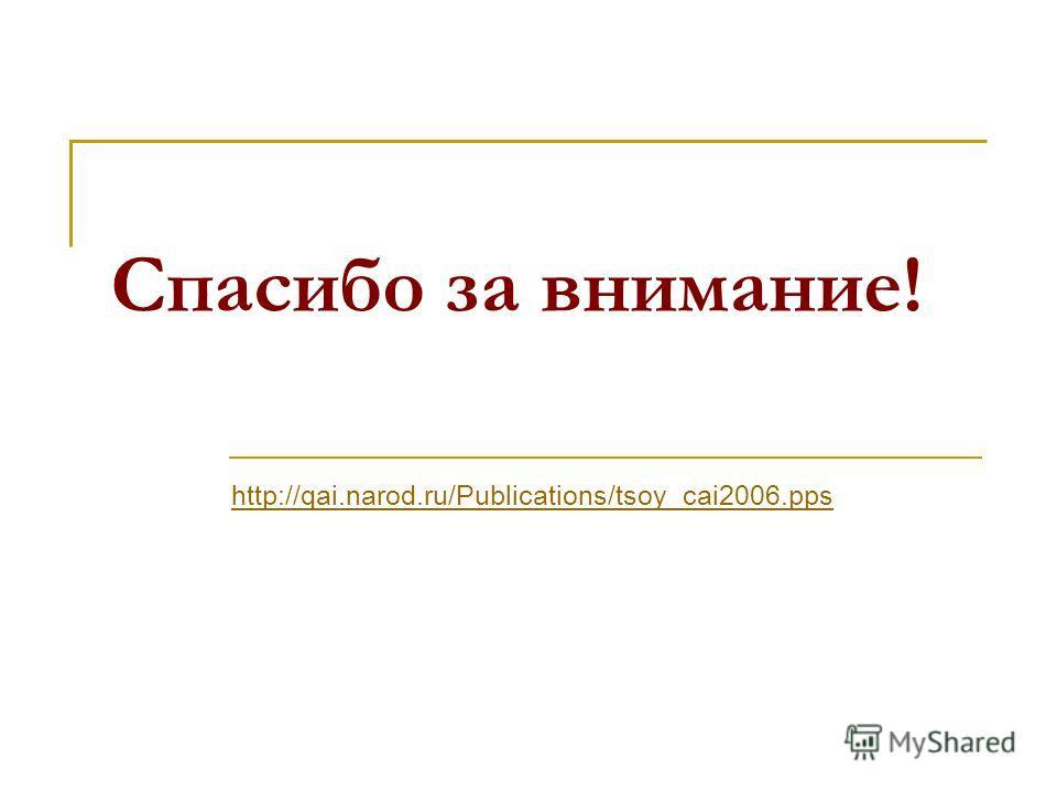 Спасибо за внимание! http://qai.narod.ru/Publications/tsoy_cai2006.pps