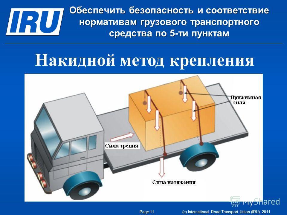 Page 11 (c) International Road Transport Union (IRU) 2011 Обеспечить безопасность и соответствие нормативам грузового транспортного средства по 5-ти пунктам Накидной метод крепления