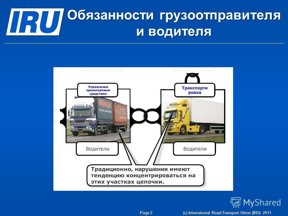 Обязанности грузоотправителя и водителя Page 2 (c) International Road Transport Union (IRU) 2011