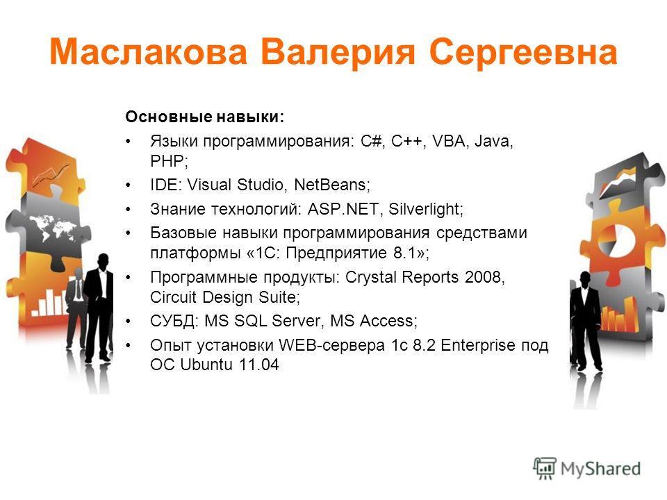 Маслакова Валерия Сергеевна Основные навыки: Языки программирования: С#, C++, VBA, Java, PHP; IDE: Visual Studio, NetBeans; Знание технологий: ASP.NET, Silverlight; Базовые навыки программирования средствами платформы «1С: Предприятие 8.1»; Программн