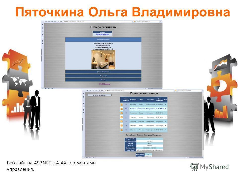 Пяточкина Ольга Владимировна Веб сайт на ASP.NET с AJAX элементами управления.