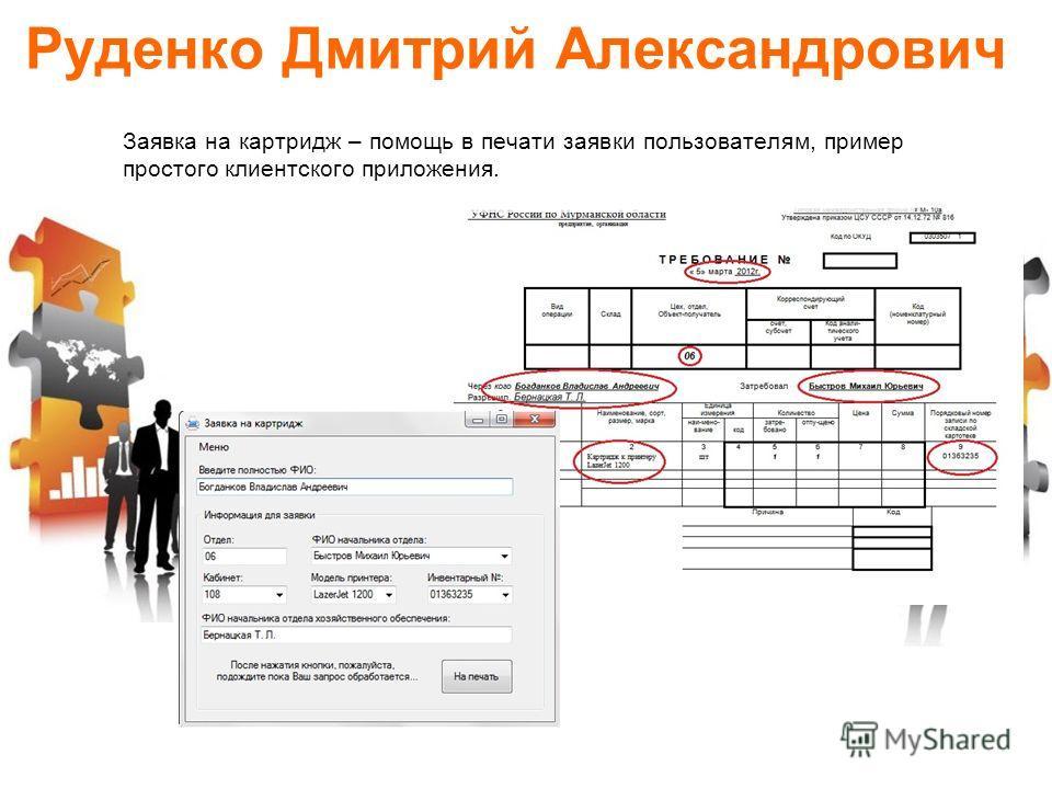 Руденко Дмитрий Александрович Заявка на картридж – помощь в печати заявки пользователям, пример простого клиентского приложения.