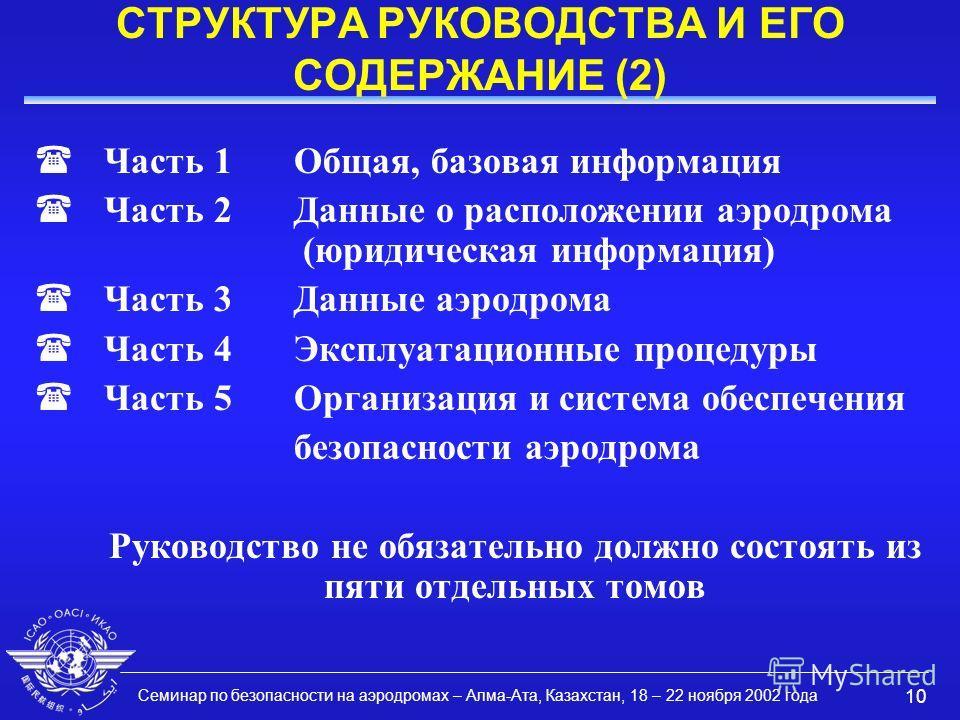 Семинар по безопасности на аэродромах – Алма-Ата, Казахстан, 18 – 22 ноября 2002 года 10 СТРУКТУРА РУКОВОДСТВА И ЕГО СОДЕРЖАНИЕ (2) (Часть 1Общая, базовая информация (Часть 2Данные о расположении аэродрома (юридическая информация) (Часть 3Данные аэро