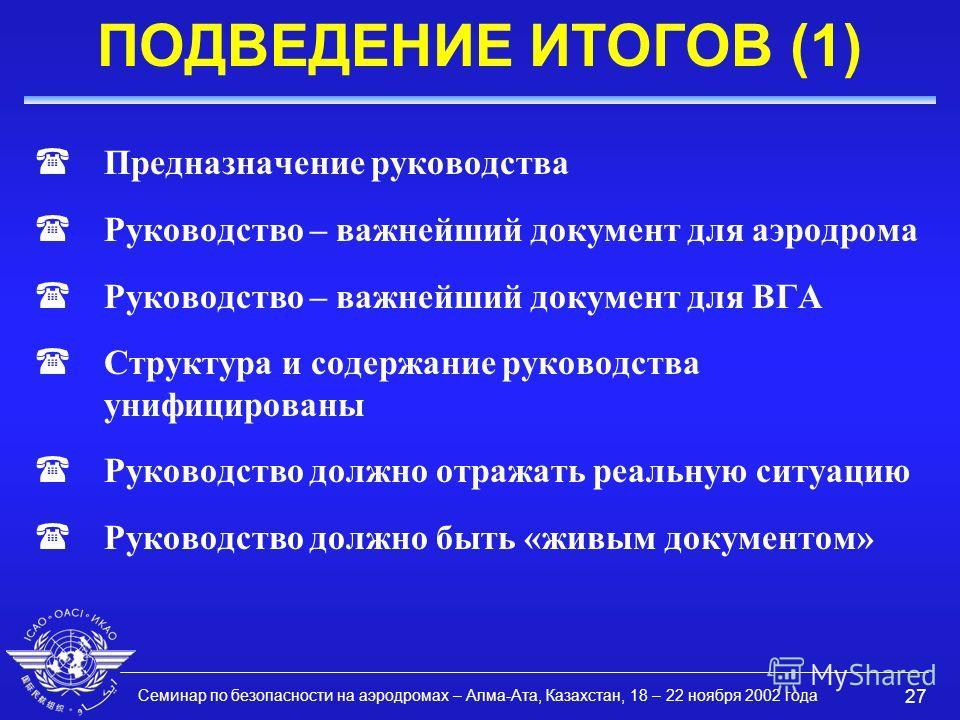 Семинар по безопасности на аэродромах – Алма-Ата, Казахстан, 18 – 22 ноября 2002 года 27 ПОДВЕДЕНИЕ ИТОГОВ (1) (Предназначение руководства (Руководство – важнейший документ для аэродрома (Руководство – важнейший документ для ВГА (Структура и содержан