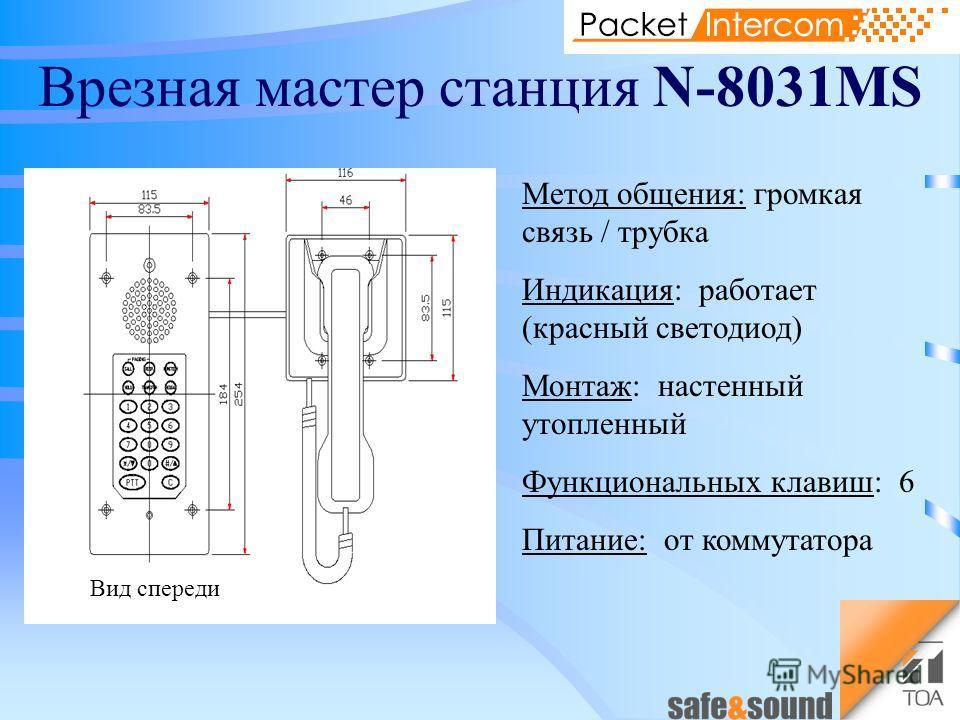 Врезная мастер станция N-8031MS Метод общения: громкая связь / трубка Индикация: работает (красный светодиод) Монтаж: настенный утопленный Функциональных клавиш: 6 Питание: от коммутатора Вид спереди