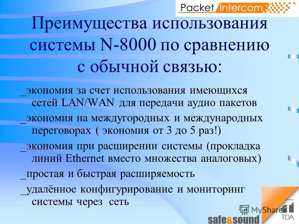 Преимущества использования системы N-8000 по сравнению с обычной связью: _экономия за счет использования имеющихся сетей LAN/WAN для передачи аудио пакетов _экономия на междугородных и международных переговорах ( экономия от 3 до 5 раз!) _экономия пр