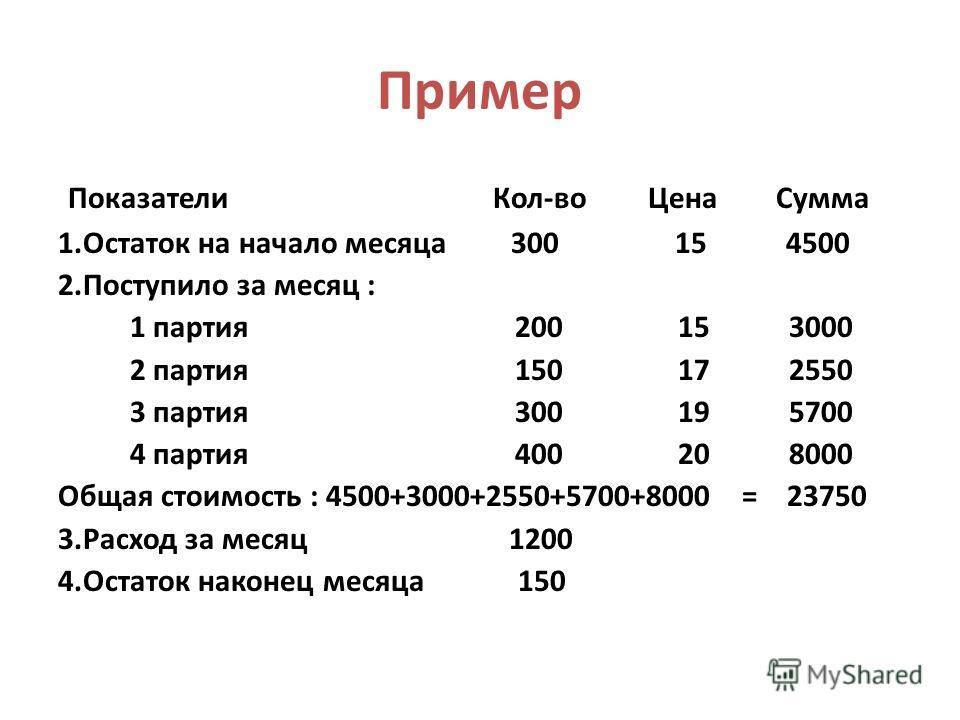 Пример Показатели Кол-во Цена Сумма 1.Остаток на начало месяца 300 15 4500 2.Поступило за месяц : 1 партия 200 15 3000 2 партия 150 17 2550 3 партия 300 19 5700 4 партия 400 20 8000 Общая стоимость : 4500+3000+2550+5700+8000 = 23750 3.Расход за месяц