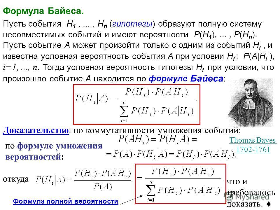 Пусть события H 1,..., H n (гипотезы) образуют полную систему несовместимых событий и имеют вероятности P(H 1 ),..., P(H n ). Пусть событие A может произойти только с одним из событий H i, и известна условная вероятность события A при условии H i : P