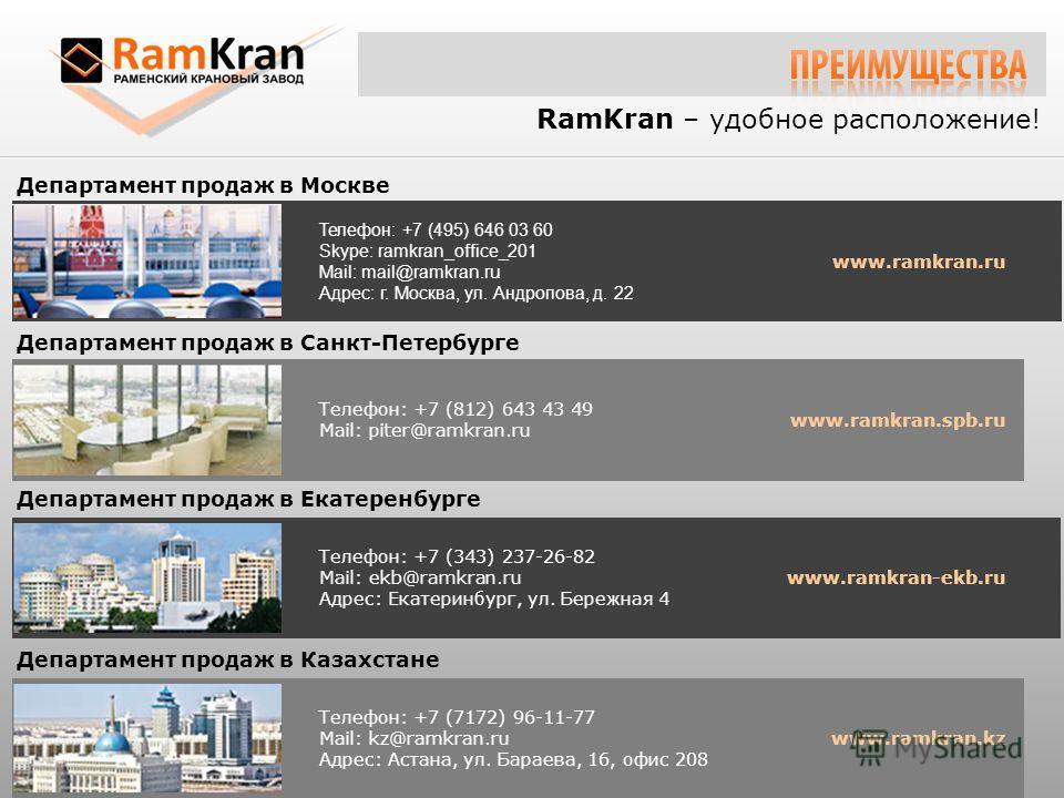 RamKran – удобное расположение! Департамент продаж в Москве Телефон: +7 (495) 646 03 60 Skype: ramkran_office_201 Mail: mail@ramkran.ru Адрес: г. Москва, ул. Андропова, д. 22 www.ramkran.ru Телефон: +7 (812) 643 43 49 Mail: piter@ramkran.ru Департаме