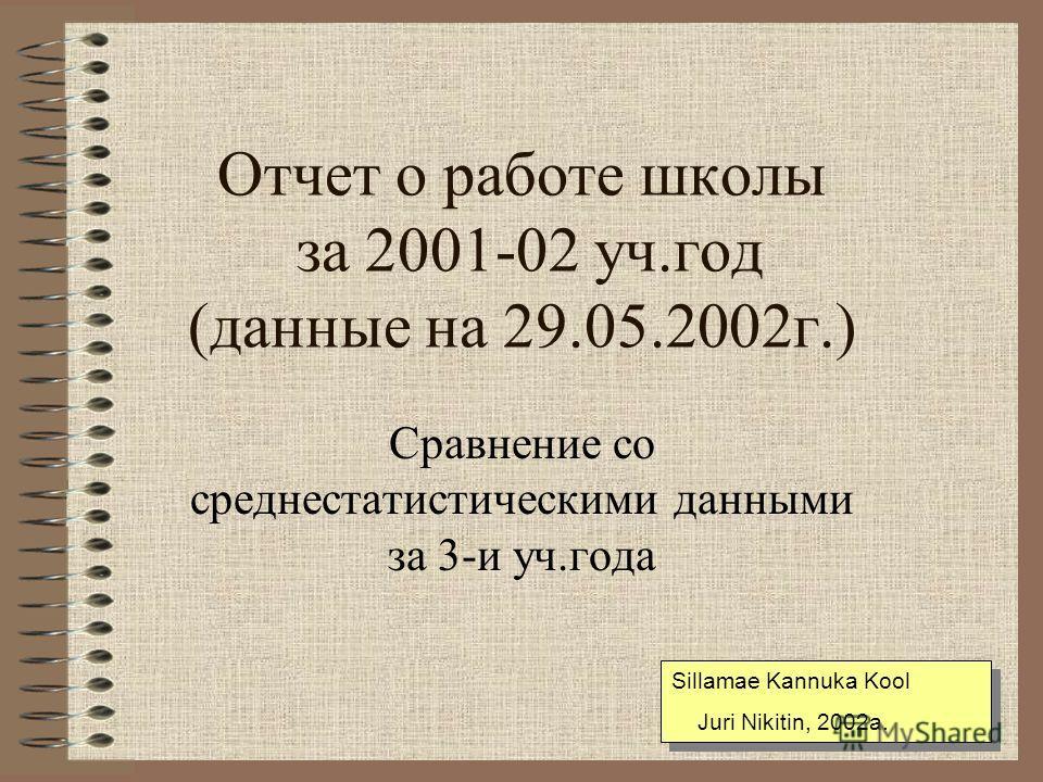 Отчет о работе школы за 2001-02 уч.год (данные на 29.05.2002г.) Сравнение со среднестатистическими данными за 3-и уч.года Sillamae Kannuka Kool Juri Nikitin, 2002a. Sillamae Kannuka Kool Juri Nikitin, 2002a.