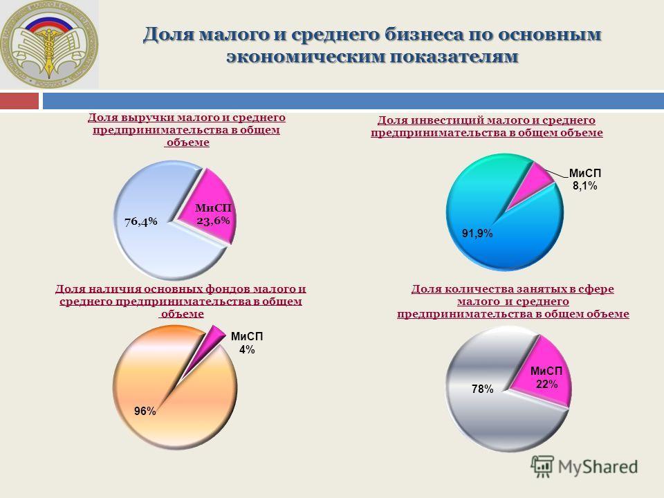 Доля малого и среднего бизнеса по основным экономическим показателям