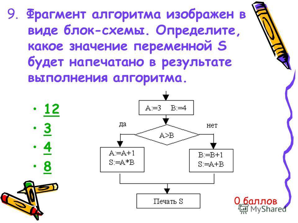 9. Фрагмент алгоритма изображен в виде блок-схемы. Определите, какое значение переменной S будет напечатано в результате выполнения алгоритма. 12 3 4 8 0 баллов