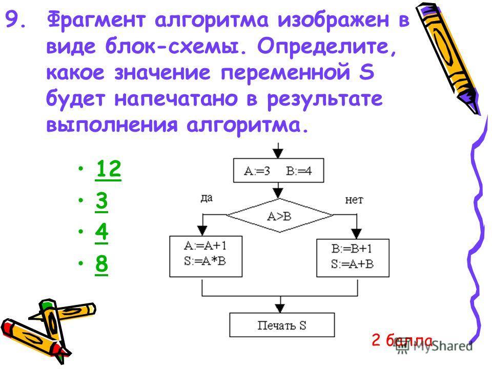 9. Фрагмент алгоритма изображен в виде блок-схемы. Определите, какое значение переменной S будет напечатано в результате выполнения алгоритма. 12 3 4 8 2 балла