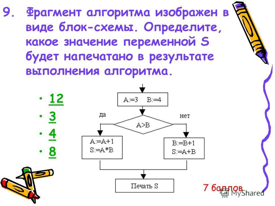 9. Фрагмент алгоритма изображен в виде блок-схемы. Определите, какое значение переменной S будет напечатано в результате выполнения алгоритма. 12 3 4 8 7 баллов