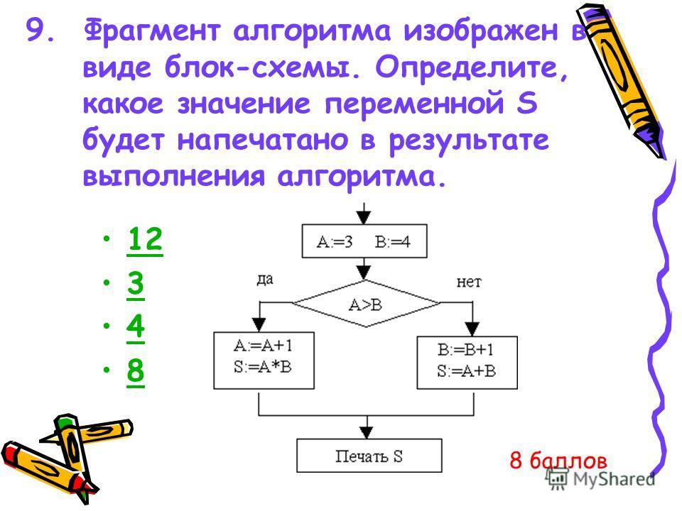 9. Фрагмент алгоритма изображен в виде блок-схемы. Определите, какое значение переменной S будет напечатано в результате выполнения алгоритма. 12 3 4 8 8 баллов