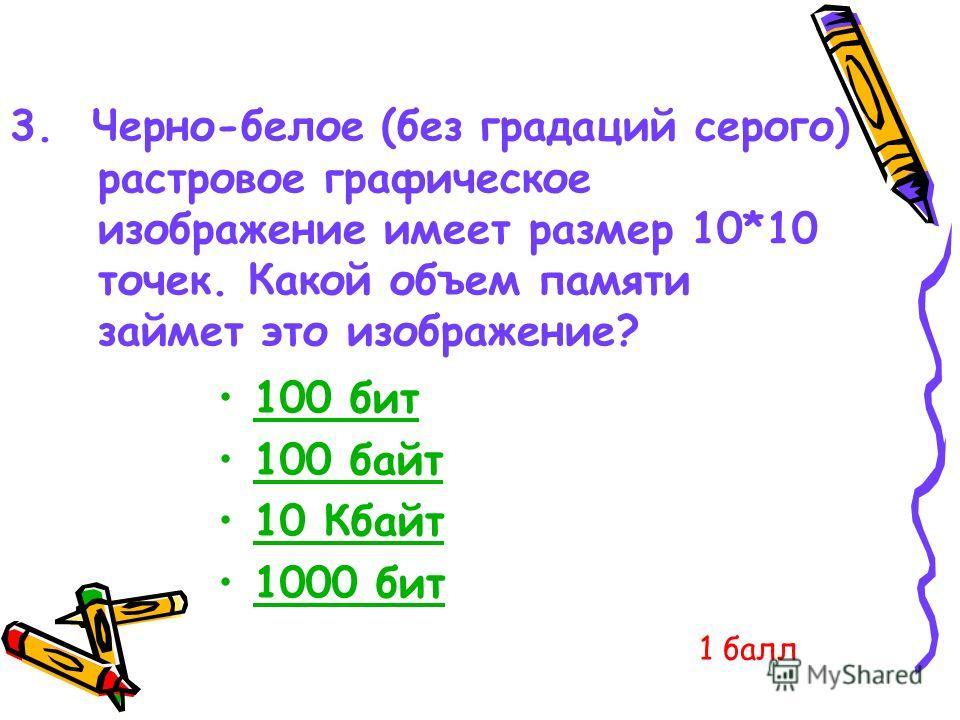 3. Черно-белое (без градаций серого) растровое графическое изображение имеет размер 10*10 точек. Какой объем памяти займет это изображение? 100 бит 100 байт 10 Кбайт 1000 бит1000 бит 1 балл
