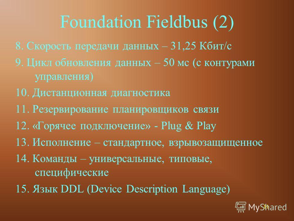 11 Foundation Fieldbus (2) 8. Скорость передачи данных – 31,25 Кбит/с 9. Цикл обновления данных – 50 мс (с контурами управления) 10. Дистанционная диагностика 11. Резервирование планировщиков связи 12. «Горячее подключение» - Plug & Play 13. Исполнен