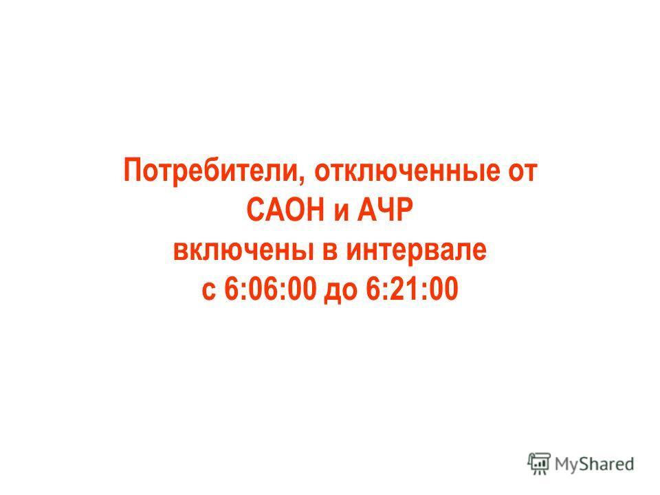 Потребители, отключенные от САОН и АЧР включены в интервале с 6:06:00 до 6:21:00