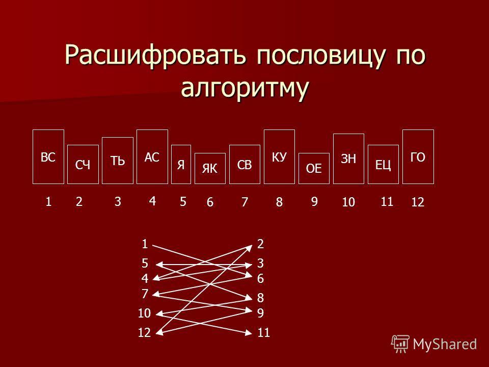 Расшифровать пословицу по алгоритму ВС СЧ ТЬ АС Я ЯК СВ КУ ОЕ ЗН ЕЦ ГО 123 4 5 678 9 10 11 12 12 3 4 5 6 7 8 910 1112