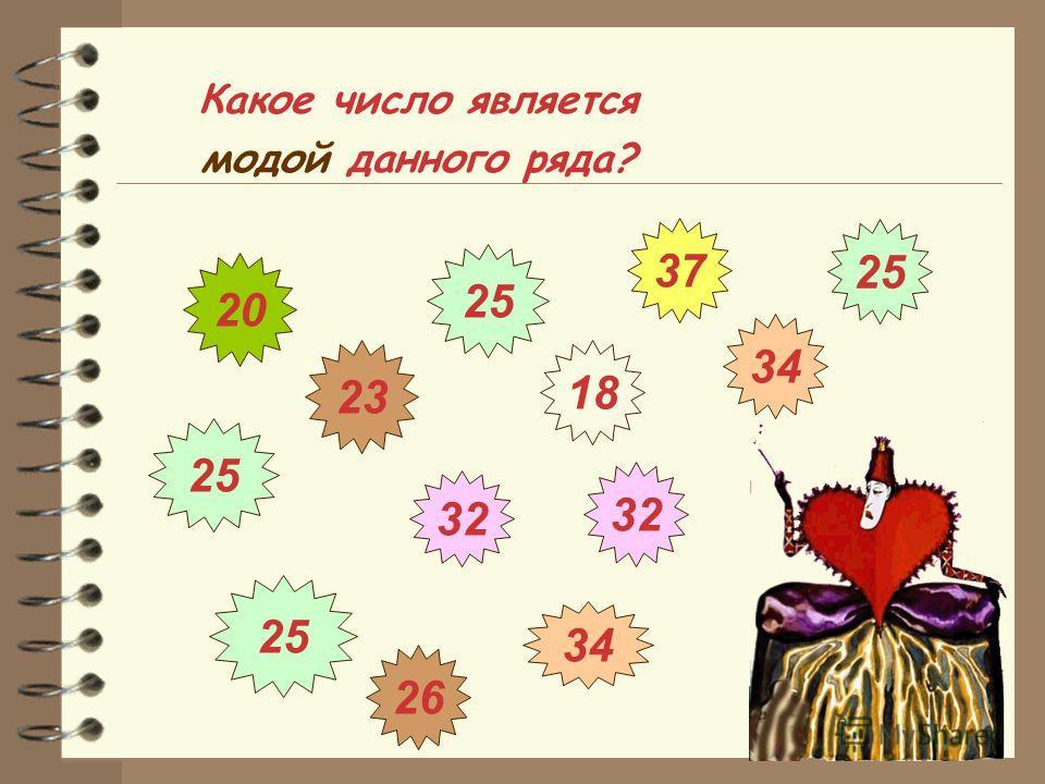 Какое число является модой данного ряда? 26 34 32 25 32 25 18 37 20 23 25