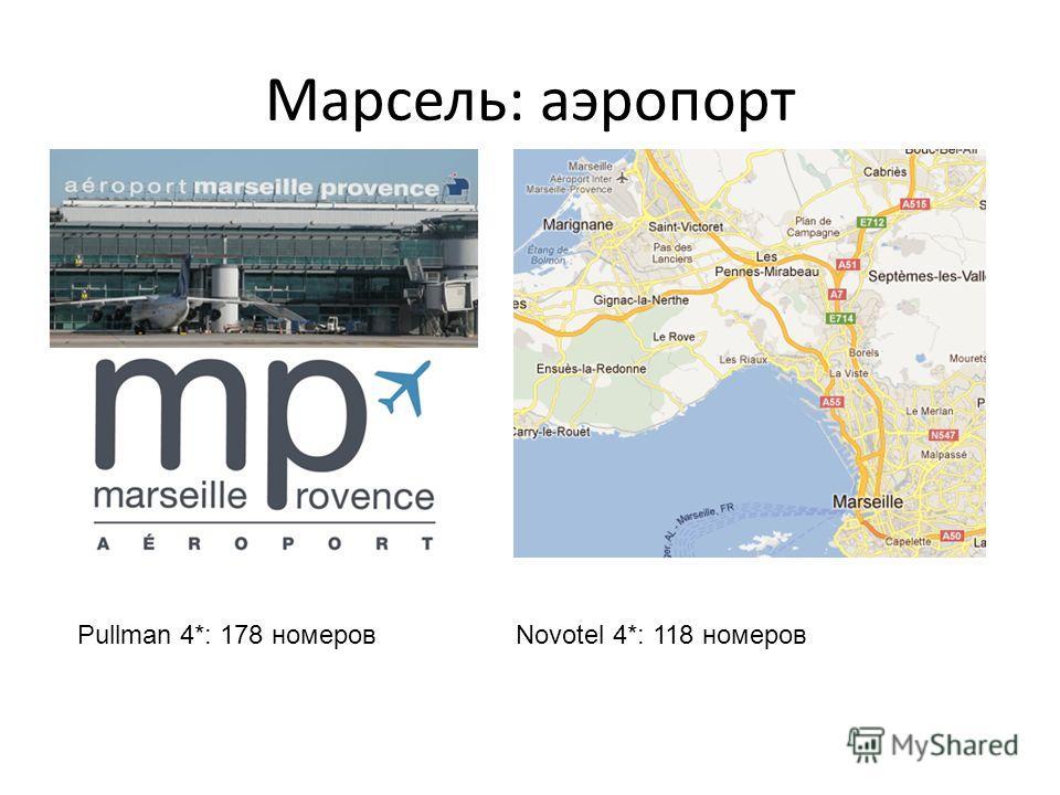 Марсель: аэропорт Pullman 4*: 178 номеров Novotel 4*: 118 номеров