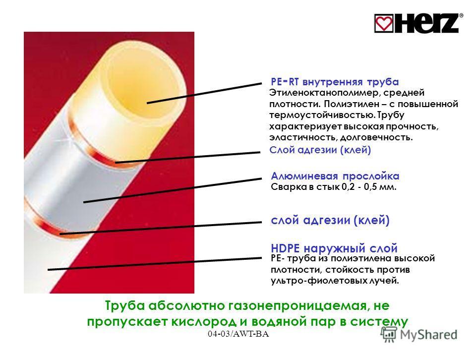 04-03/AWT-BA PE - RT внутренняя труба Cлой адгезии (клей) HDPE наружный слой Этиленоктанополимер, средней плотности. Полиэтилен – с повышенной термоустойчивостью. Трубу характеризует высокая прочность, эластичность, долговечность. Сварка в стык 0,2 -