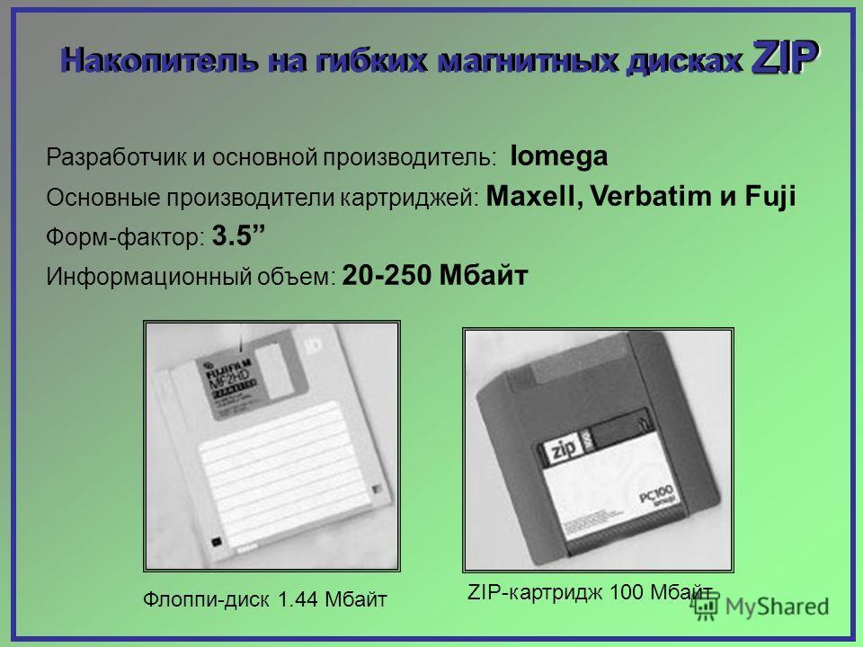 Разработчик и основной производитель: Iomega Основные производители картриджей: Maxell, Verbatim и Fuji Форм-фактор: 3.5 Информационный объем: 20-250 Мбайт Флоппи-диск 1.44 Мбайт ZIP-картридж 100 Мбайт ZIP Накопитель на гибких магнитных дисках ZIP