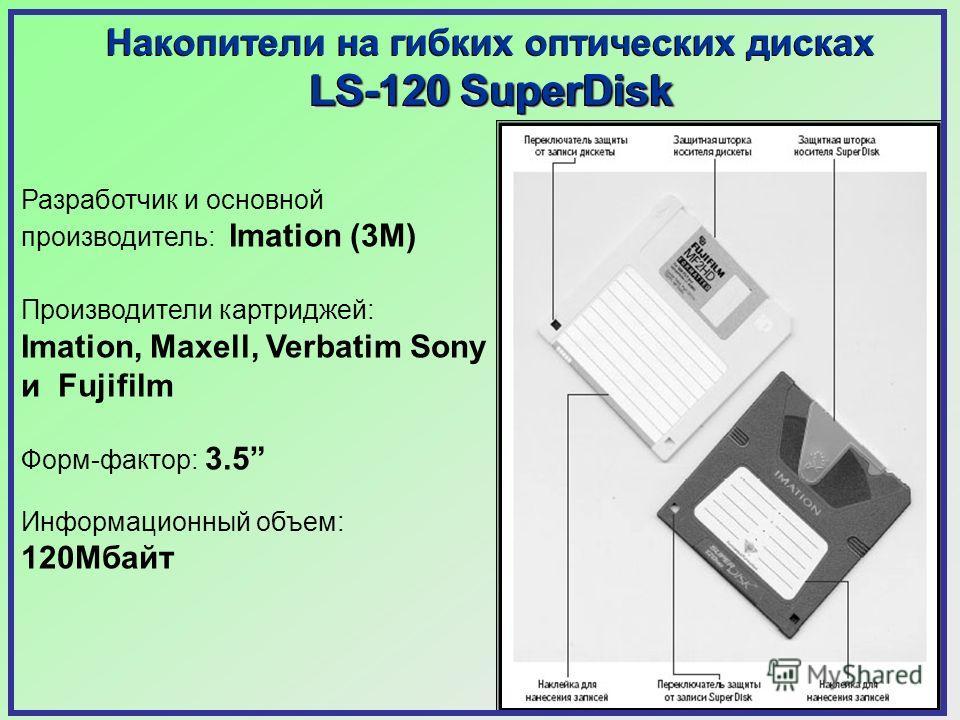 Накопители на гибких оптических дисках LS-120 SuperDisk Накопители на гибких оптических дисках LS-120 SuperDisk Разработчик и основной производитель: Imation (3M) Производители картриджей: Imation, Maxell, Verbatim Sony и Fujifilm Форм-фактор: 3.5 Ин