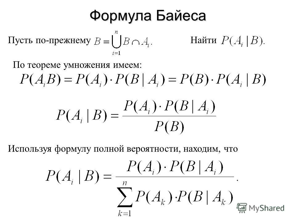 Формула Байеса Пусть по-прежнемуНайти По теореме умножения имеем: Используя формулу полной вероятности, находим, что