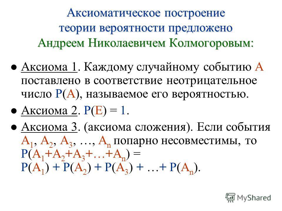 Аксиома 1. Каждому случайному событию A поставлено в соответствие неотрицательное число P(A), называемое его вероятностью. Аксиома 2. P(E) = 1. Аксиома 3. (аксиома сложения). Если события A 1, A 2, A 3, …, A n попарно несовместимы, то P(A 1 +A 2 +A 3