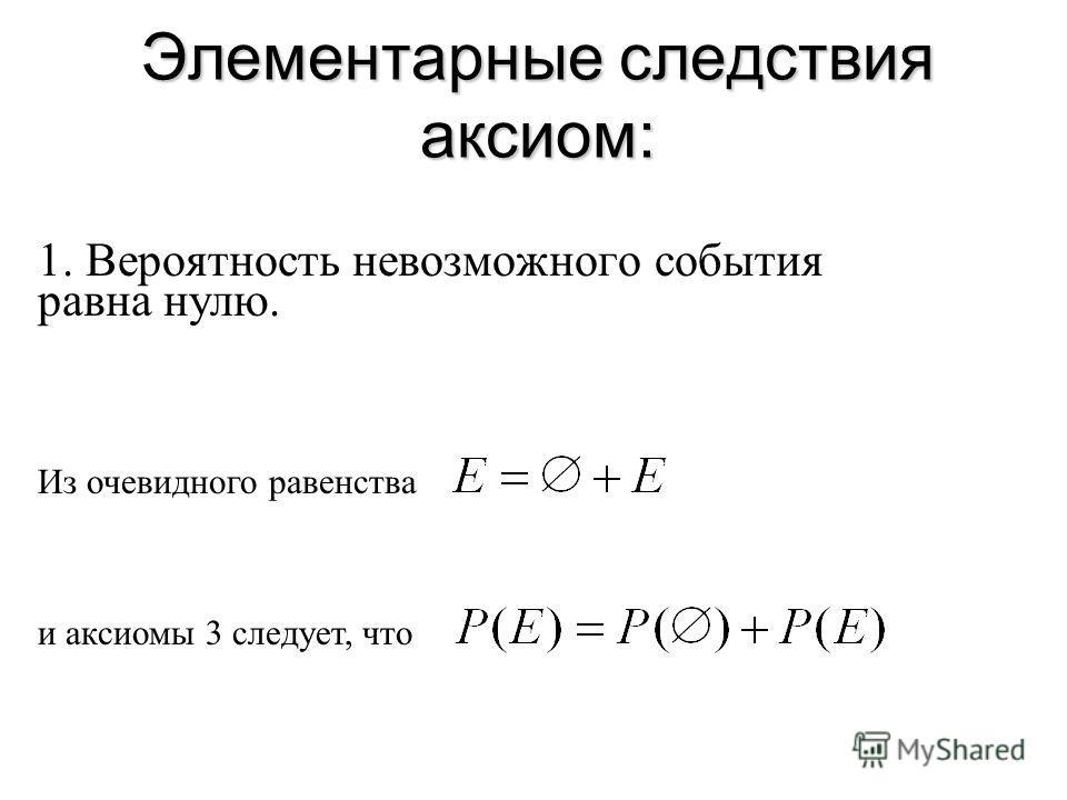 Элементарные следствия аксиом: 1. Вероятность невозможного события равна нулю. Из очевидного равенства и аксиомы 3 следует, что