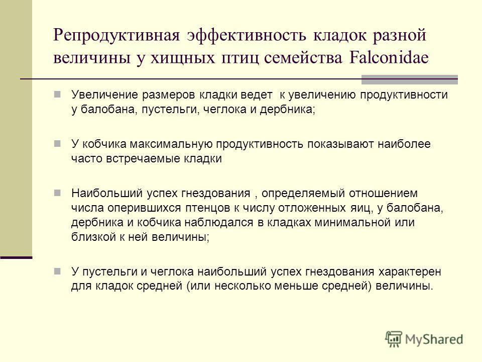 Репродуктивная эффективность кладок разной величины у хищных птиц семейства Falconidae Увеличение размеров кладки ведет к увеличению продуктивности у балобана, пустельги, чеглока и дербника; У кобчика максимальную продуктивность показывают наиболее ч