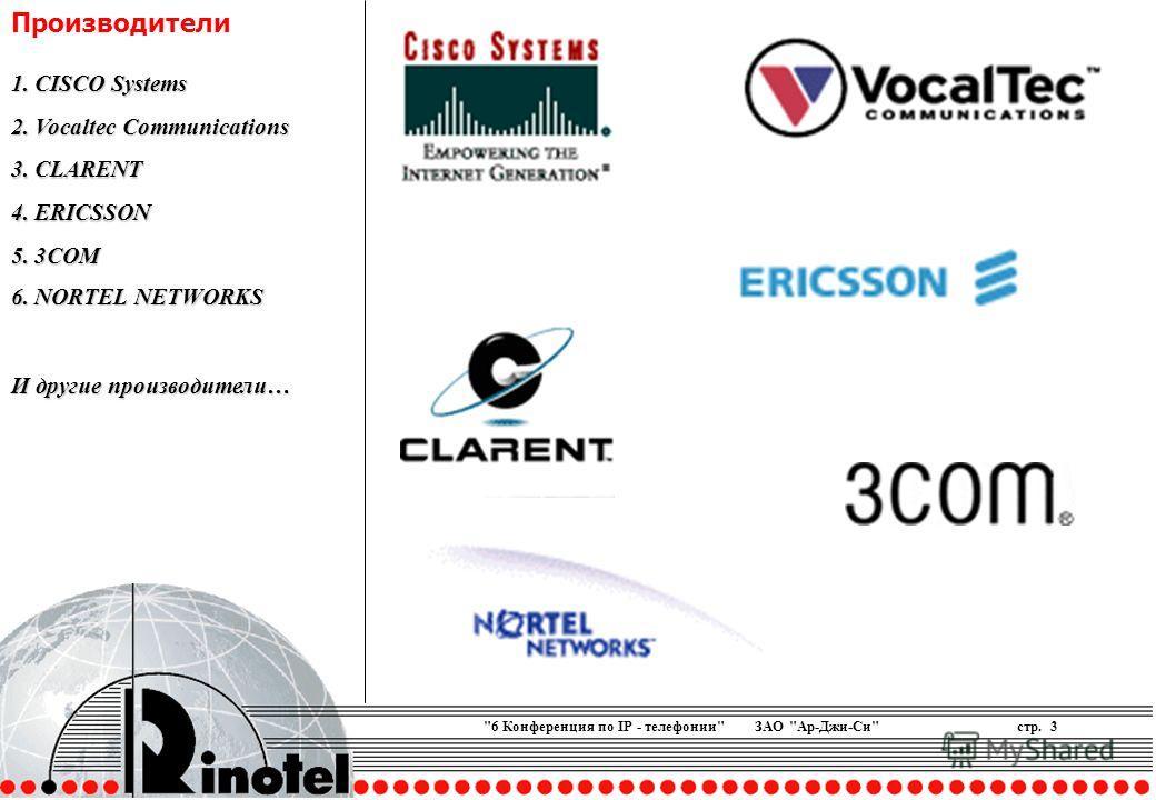 6 Конференция по IP - телефонии ЗАО Ар-Джи-Систр. 3 Производители 1. CISCO Systems 2. Vocaltec Communications 3. CLARENT 4. ERICSSON 5. 3COM 6. NORTEL NETWORKS И другие производители…