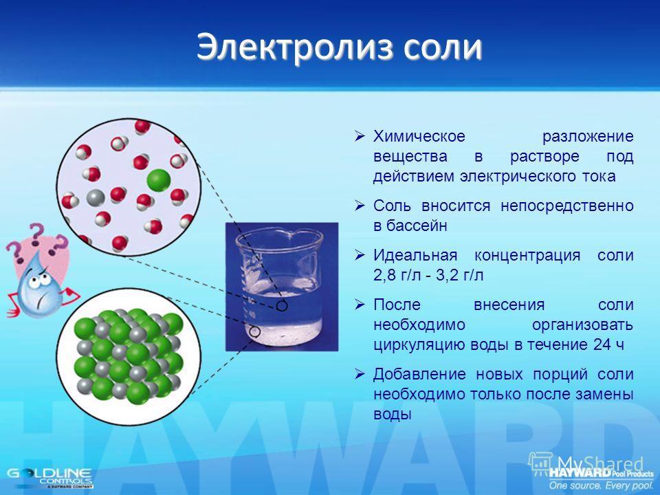 Электролиз соли Химическое разложение вещества в растворе под действием электрического тока Соль вносится непосредственно в бассейн Идеальная концентрация соли 2,8 г/л - 3,2 г/л После внесения соли необходимо организовать циркуляцию воды в течение 24