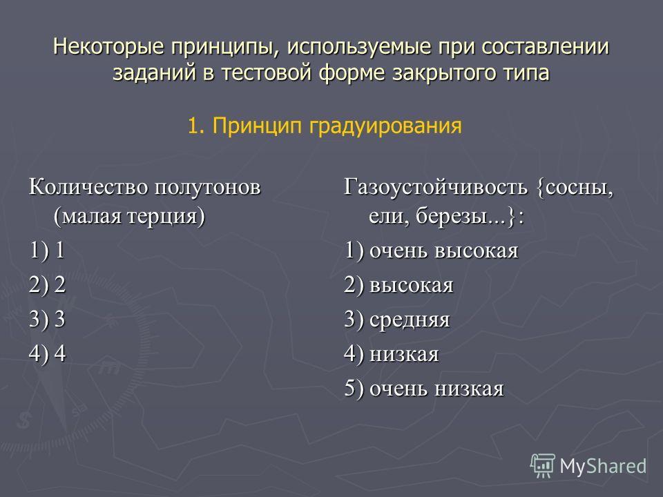Некоторые принципы, используемые при составлении заданий в тестовой форме закрытого типа Количество полутонов (малая терция) 1) 1 2) 2 3) 3 4) 4 Газоустойчивость {сосны, ели, березы...}: 1) очень высокая 2) высокая 3) средняя 4) низкая 5) очень низка