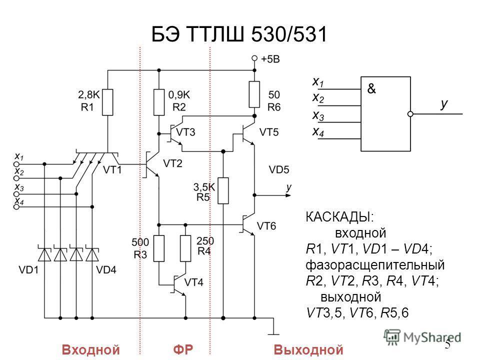 БЭ ТТЛШ 530/531 5 ВходнойФРВыходной КАСКАДЫ: входной R1, VT1, VD1 – VD4; фазорасщепительный R2, VT2, R3, R4, VT4; выходной VT3,5, VT6, R5,6