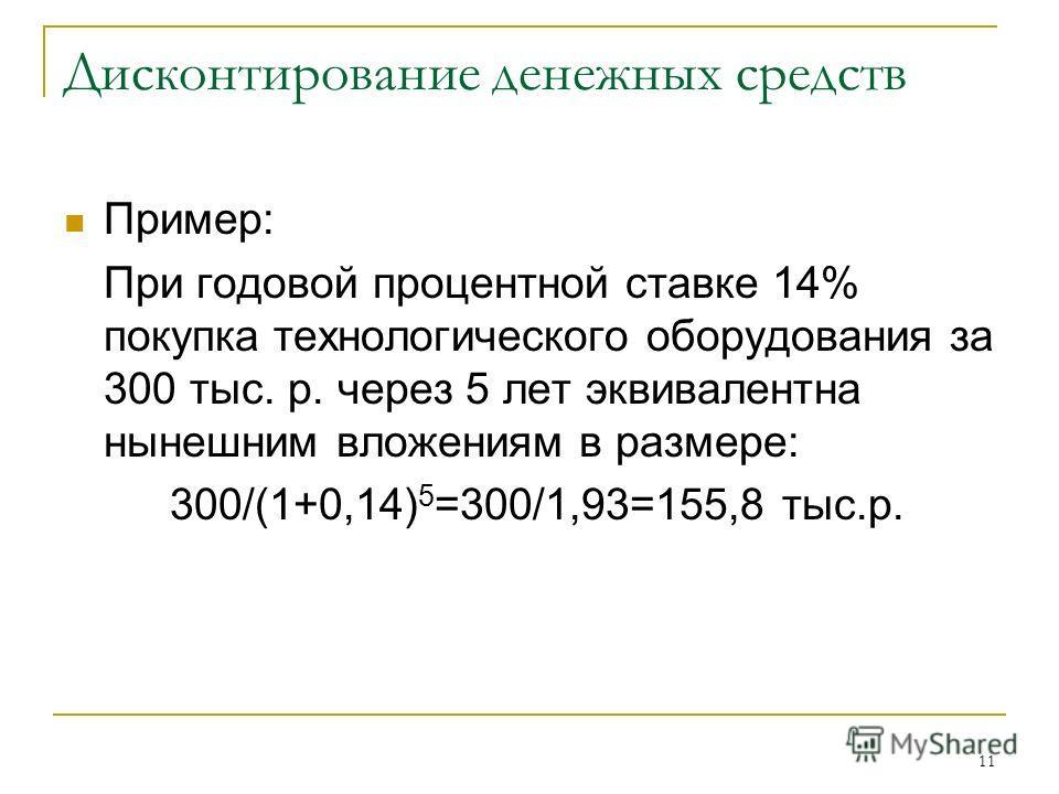 11 Дисконтирование денежных средств Пример: При годовой процентной ставке 14% покупка технологического оборудования за 300 тыс. р. через 5 лет эквивалентна нынешним вложениям в размере: 300/(1+0,14) 5 =300/1,93=155,8 тыс.р.