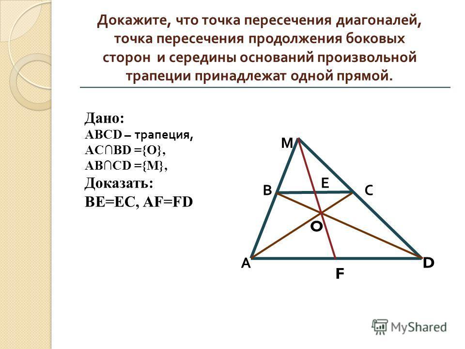 Докажите, что точка пересечения диагоналей, точка пересечения продолжения боковых сторон и середины оснований произвольной трапеции принадлежат одной прямой. М В А С Е O D F Дано: ABCD – трапеция, ACBD ={O}, АВСD ={М}, Доказать: BE=EC, AF=FD