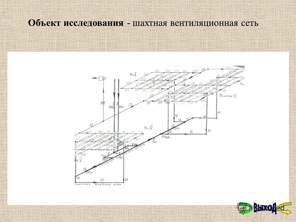 Объект исследования - шахтная вентиляционная сеть