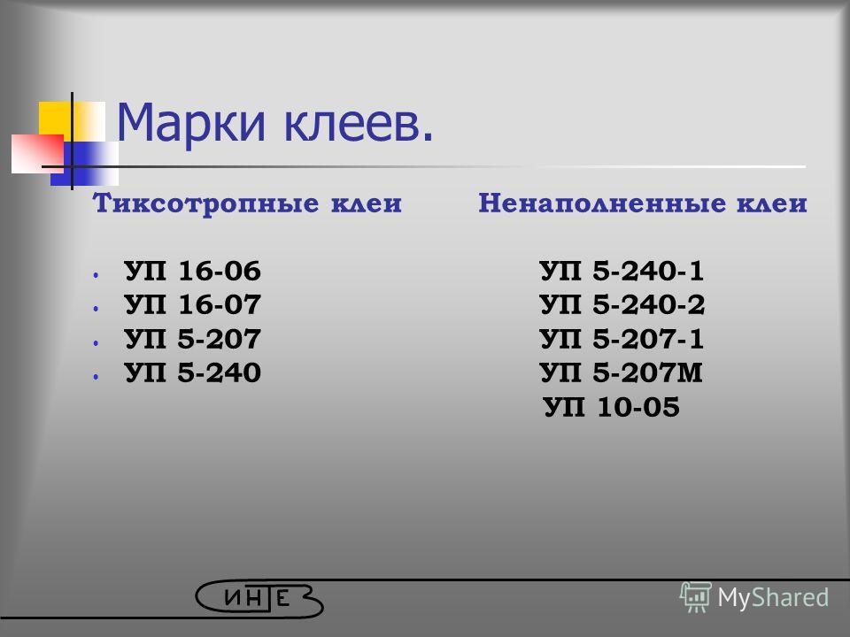 Марки клеев. Тиксотропные клеи Ненаполненные клеи УП 16-06 УП 5-240-1 УП 16-07 УП 5-240-2 УП 5-207 УП 5-207-1 УП 5-240 УП 5-207М УП 10-05