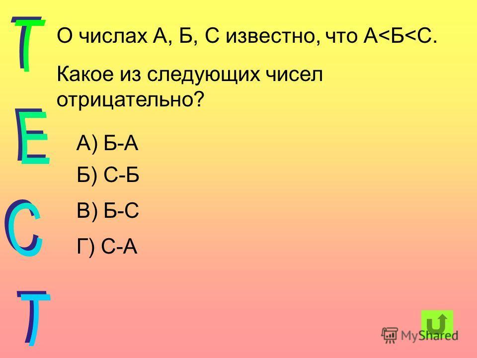 О числах А, Б, С известно, что А