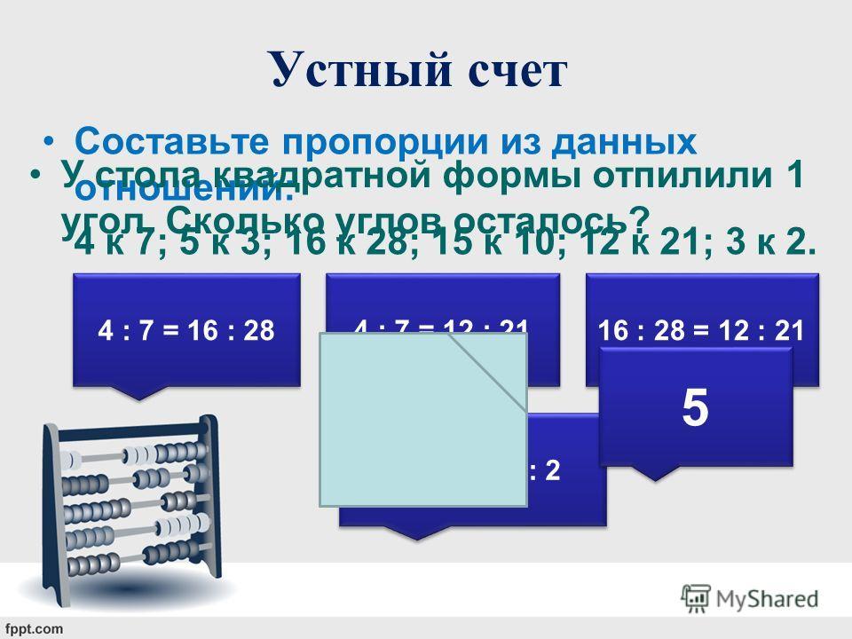Устный счет Составьте пропорции из данных отношений: 4 к 7; 5 к 3; 16 к 28; 15 к 10; 12 к 21; 3 к 2. 4 : 7 = 16 : 28 4 : 7 = 12 : 21 16 : 28 = 12 : 21 15 : 10 = 3 : 2 У стола квадратной формы отпилили 1 угол. Сколько углов осталось? 5 5