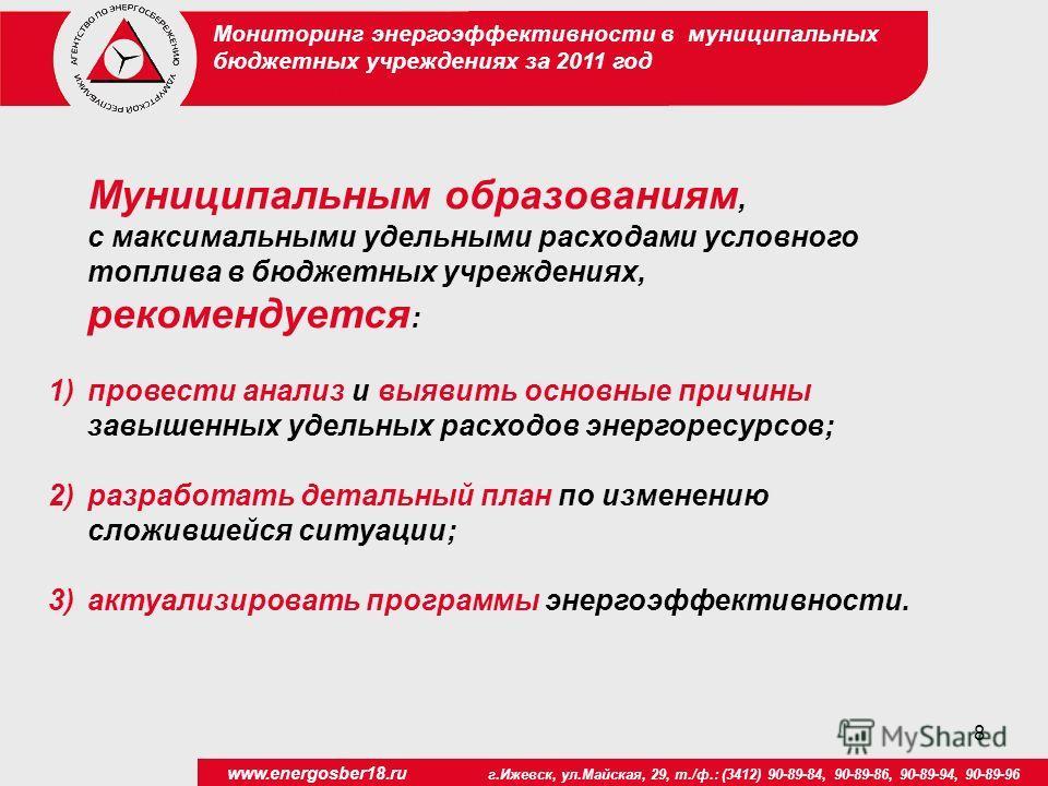8 www.energosber18.ru г.Ижевск, ул.Майская, 29, т./ф.: (3412) 90-89-84, 90-89-86, 90-89-94, 90-89-96 Муниципальным образованиям, c максимальными удельными расходами условного топлива в бюджетных учреждениях, рекомендуется : 1)провести анализ и выявит