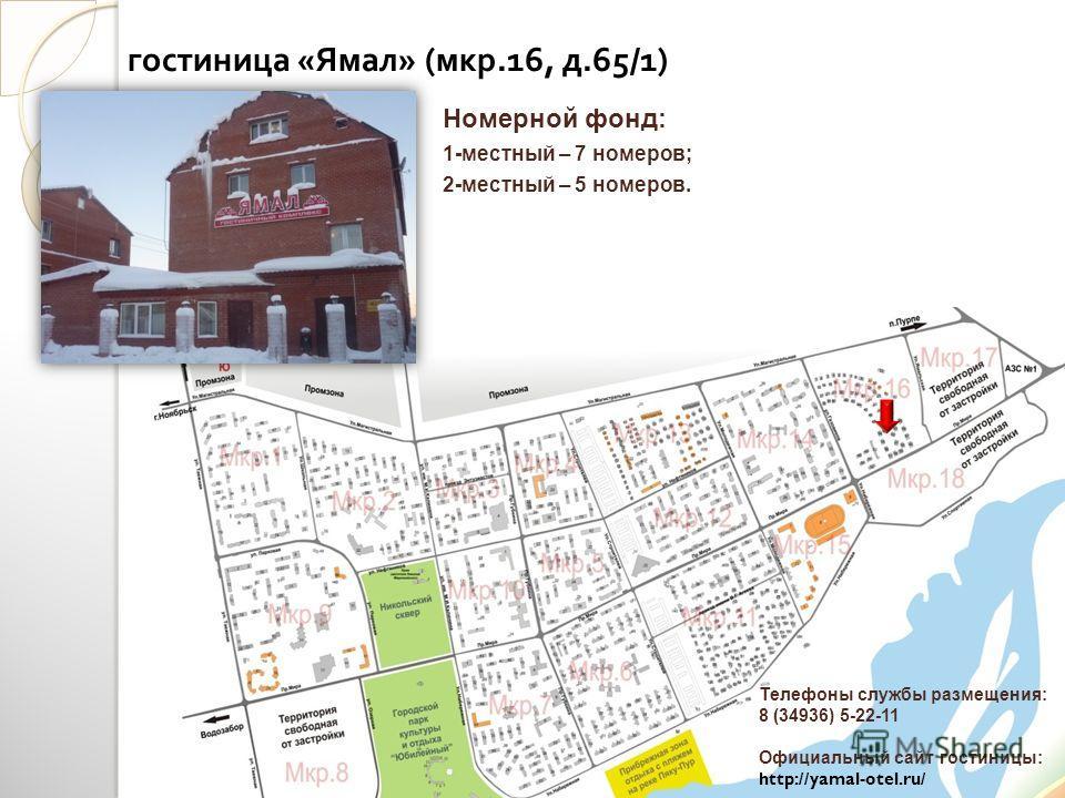 гостиница « Ямал » ( мкр.16, д.65/1) Телефоны службы размещения: 8 (34936) 5-22-11 Официальный сайт гостиницы: http://yamal-otel.ru/ Номерной фонд: 1-местный – 7 номеров; 2-местный – 5 номеров.